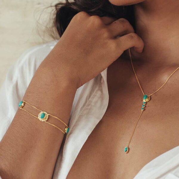 bracelet starduste turquoise vermeil perle de jade