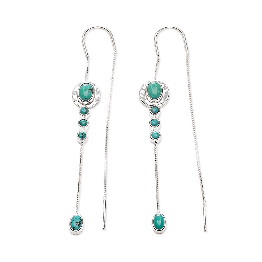 """Boucles d'oreilles pendantes """"Stardust"""" en argent massif 925 et pierres de turquoise"""