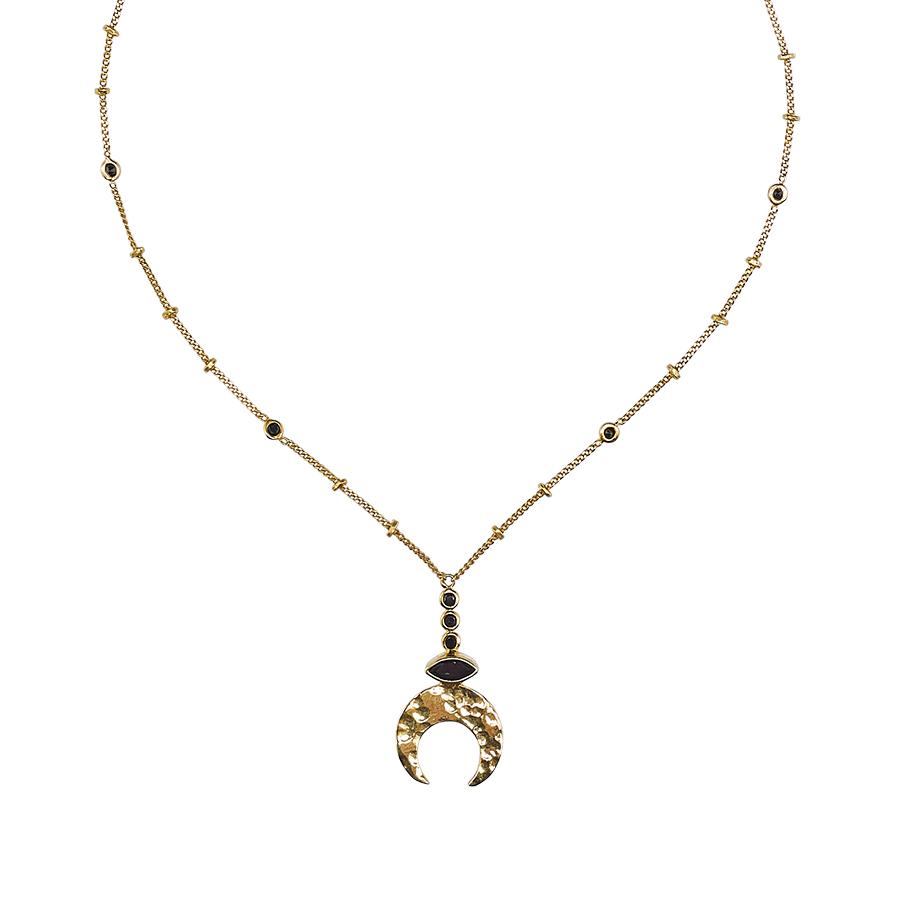 collier pendentif lune en vermeil 18 carats quartz noir