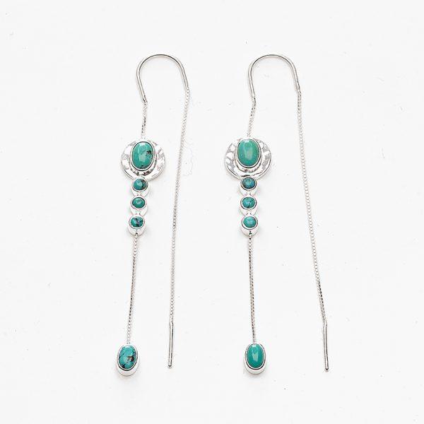 Boucles d'oreilles pendantes en argent massif et pierres de turquoise