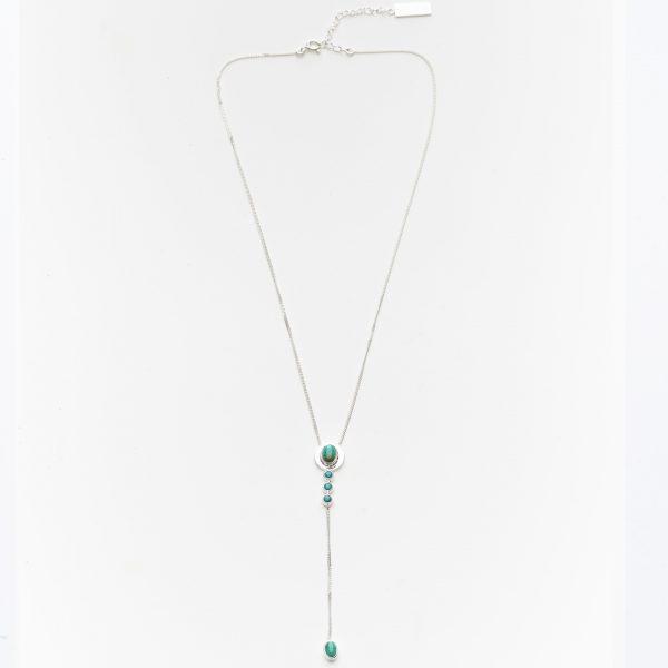 collier 2 niveaux argent et pierre de turquoise