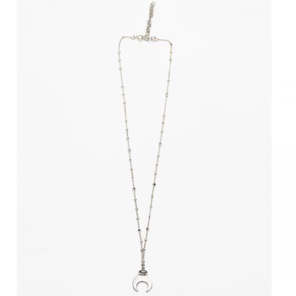 collier pendentif lune quartz noir