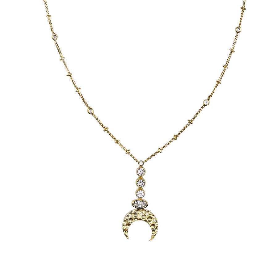 Collier pendentif lune en Vermeil plaqué or 18 carats et Pierres de Quartz Blanc