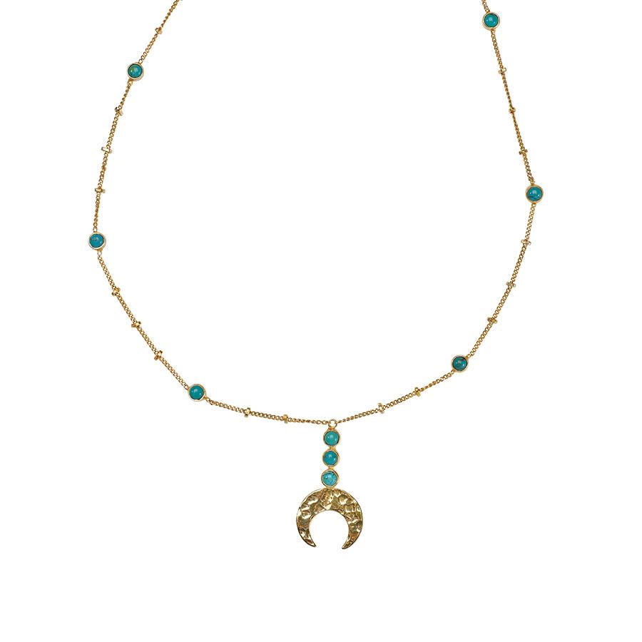 Collier pendentif lune en or incrusté de Pierre de Turquoise