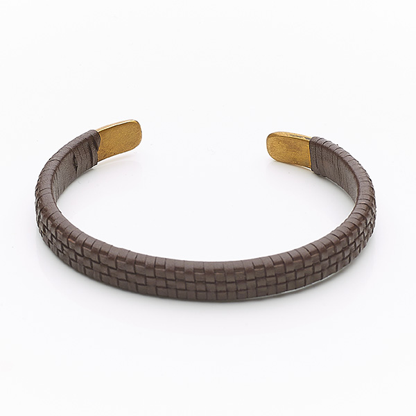Bracelet cuir Paving marron