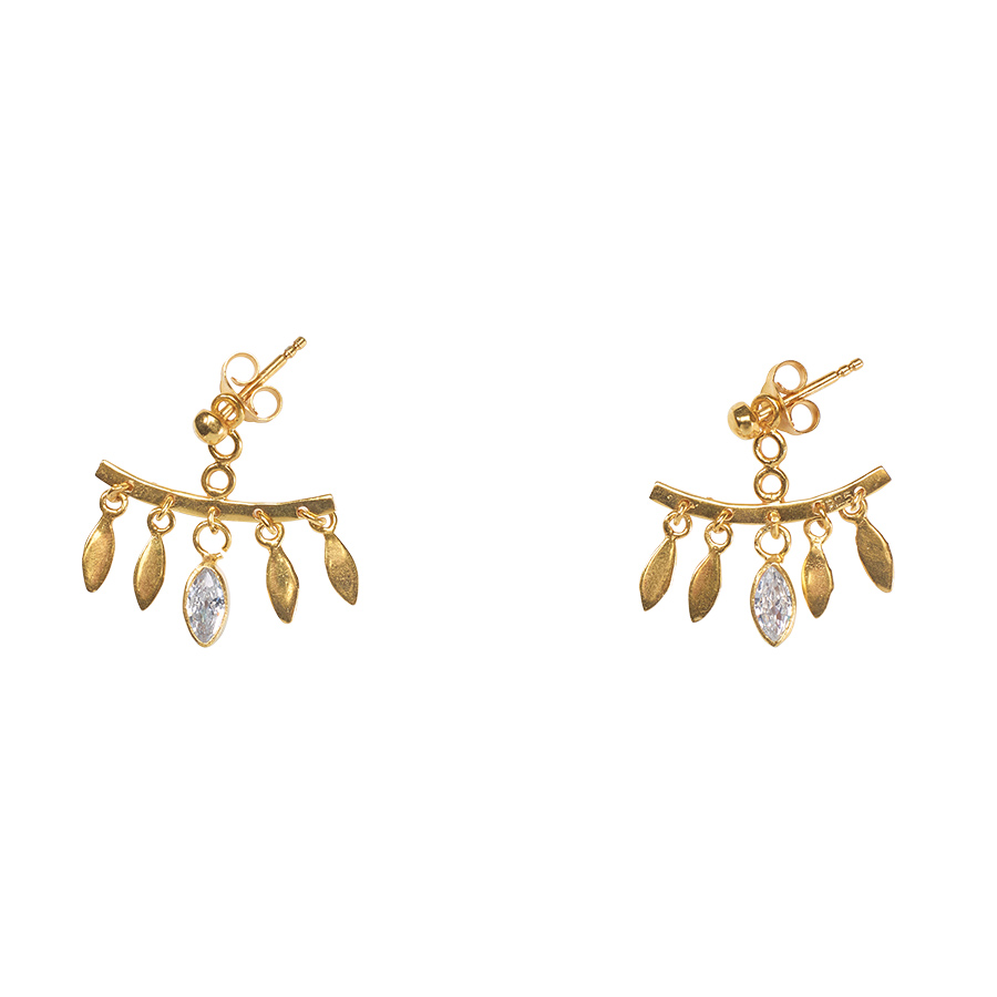 """plaqué or et quartz """"Feathers"""" perle de jade"""
