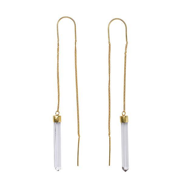 Boucles d'oreilles pendantes plaqué or et quartz perle de jade