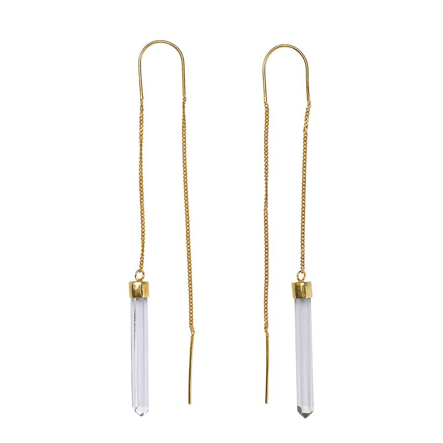 Boucles d'oreilles lux vermeil 18 carats et quartz transparent perle de jade