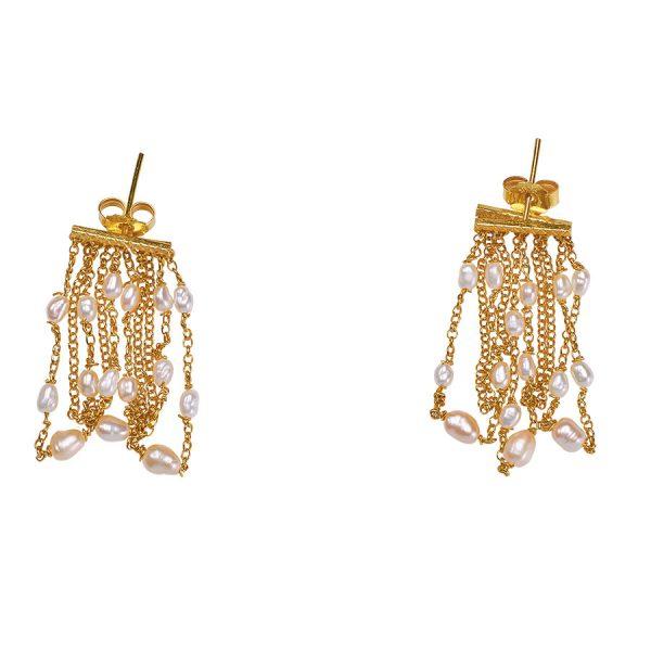 Boucles d'oreilles perla vermeil 18 carats et perles de culture