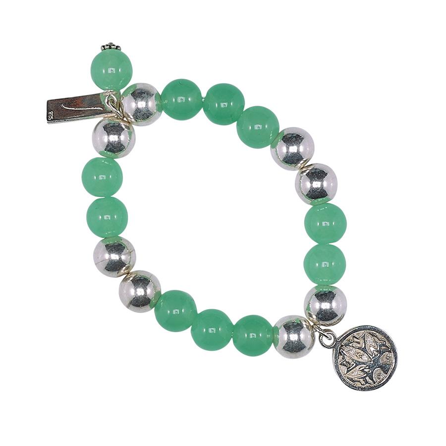 Bracelet enfant good karma argent 925 et pierre de jade