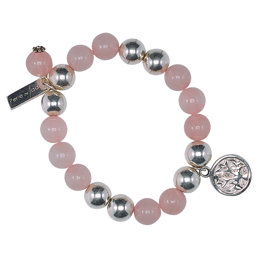 Bracelet enfant good karma argent 925 et quartz rose