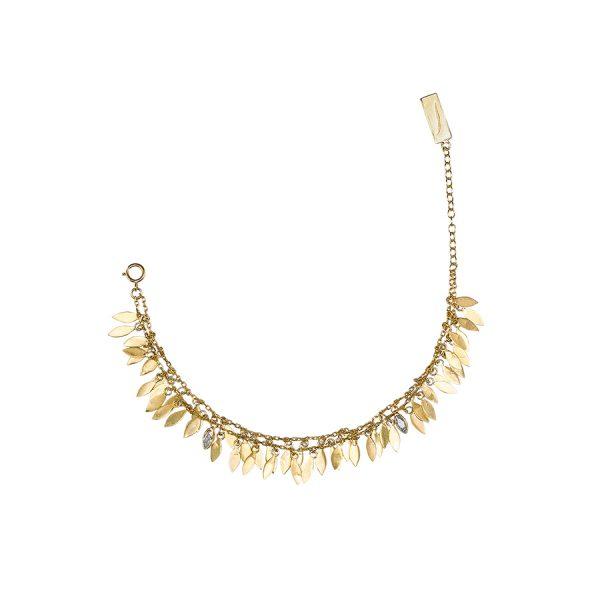 Bracelet feathers vermeil 18 carats et quartz