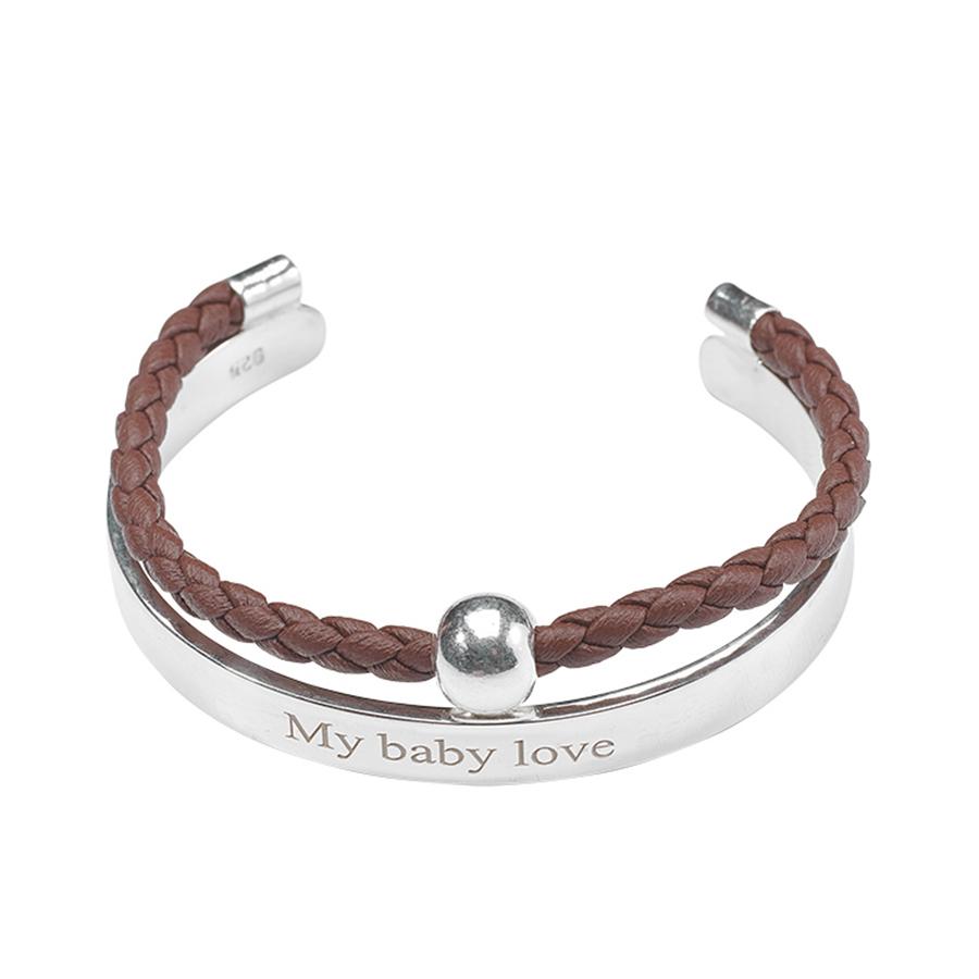 Bracelet jonc enfant my baby love lanière en cuir marron et argent 925 retouche