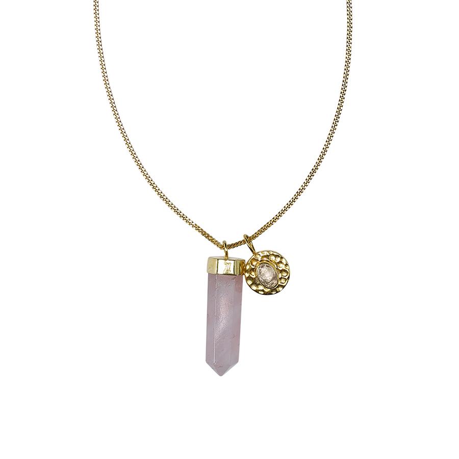 Collier charms vermeil 18 carats et quartz rose perle de jade