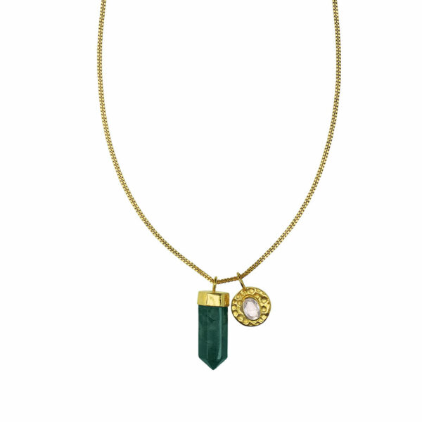 collier plaqué or et quartz vert Perle de jade