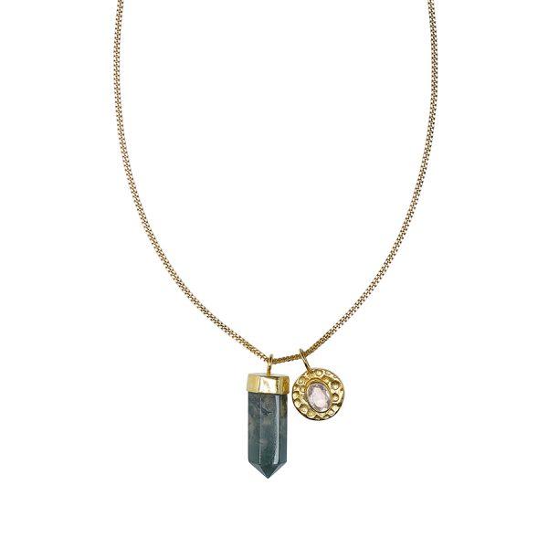 Collier charms vermeil 18 carats et quartz vert perle de jade