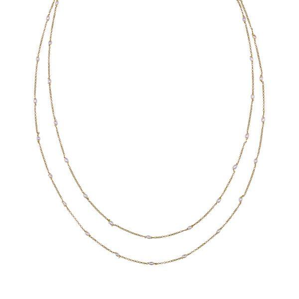 Collier deux niveaux Perla vermeil 18 carats et perles de culture