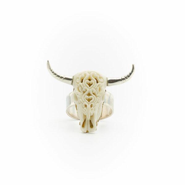 bague buffalo head argent massif