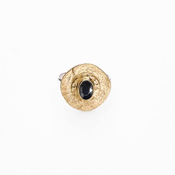 Bague perle de lune vermeil 18 carats en quartz noir