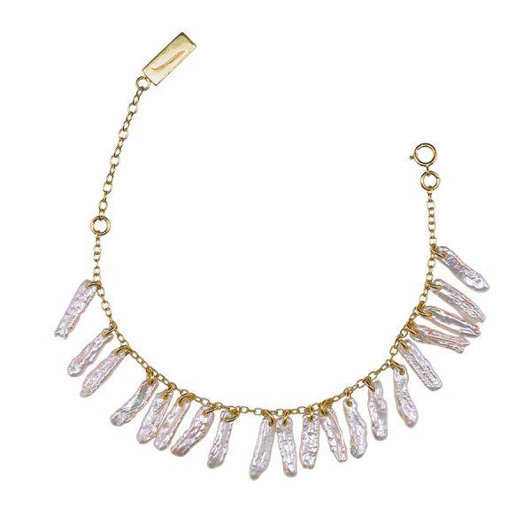 Bracelet atlantis vermeil 18 carats et nacres blanches naturelles perle de jade