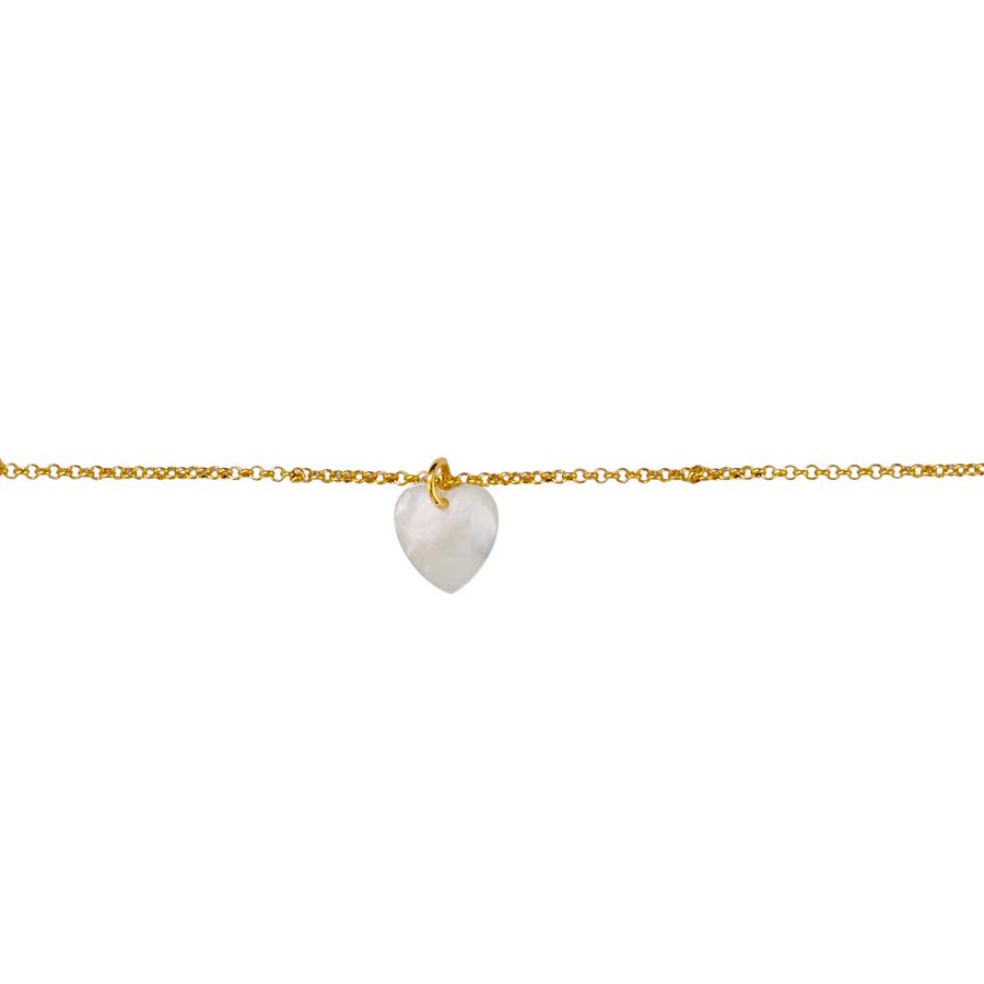 """Bracelet enfant """"Coeur"""" vermeil plaqué or 18 carats et nacre"""