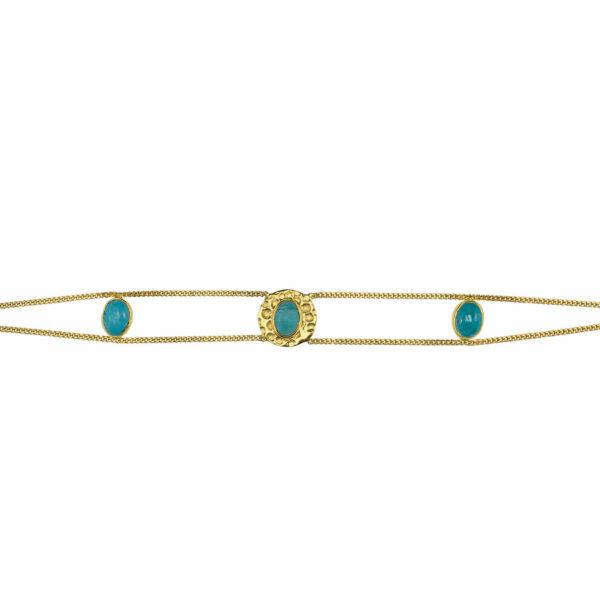 bracelet plaqué or et pierres de turquoise perle de jade