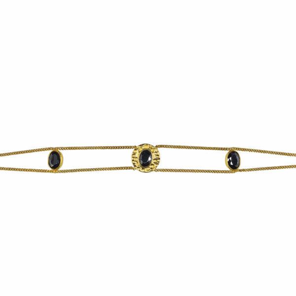 bracelet plaqué or et quartz noir perle de jade