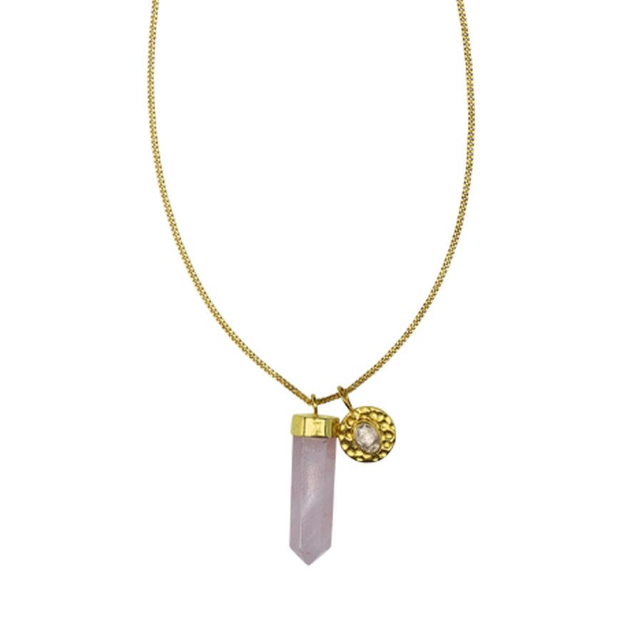 collier plaqué or et quartz rose perle de jade