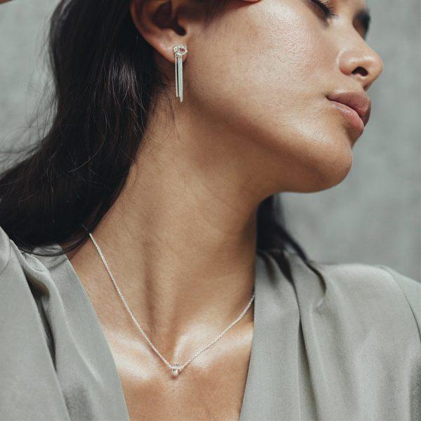 perle de jade bijoux - collier shooting stars argent 925 et quartz transparent