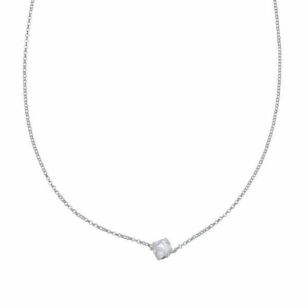 collier en argent massif 925 et quartz transparent perle de jade