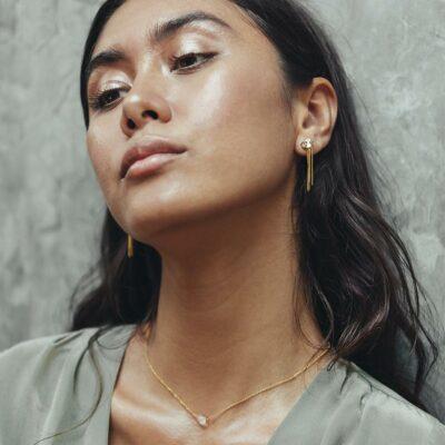 perle de jade bijoux - collier shooting stars vermeil et quartz transparent