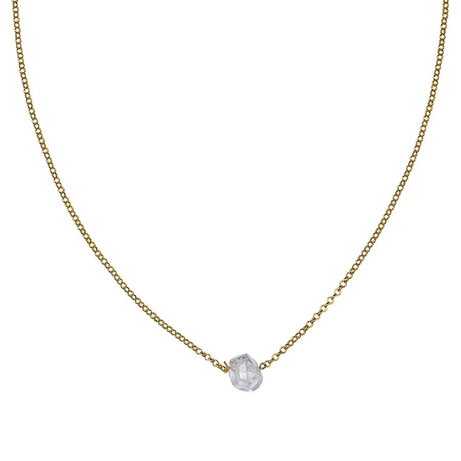 collier vermeil quartz transparent perle de jade