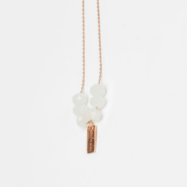 collier this world plaqué or rose perle de jade