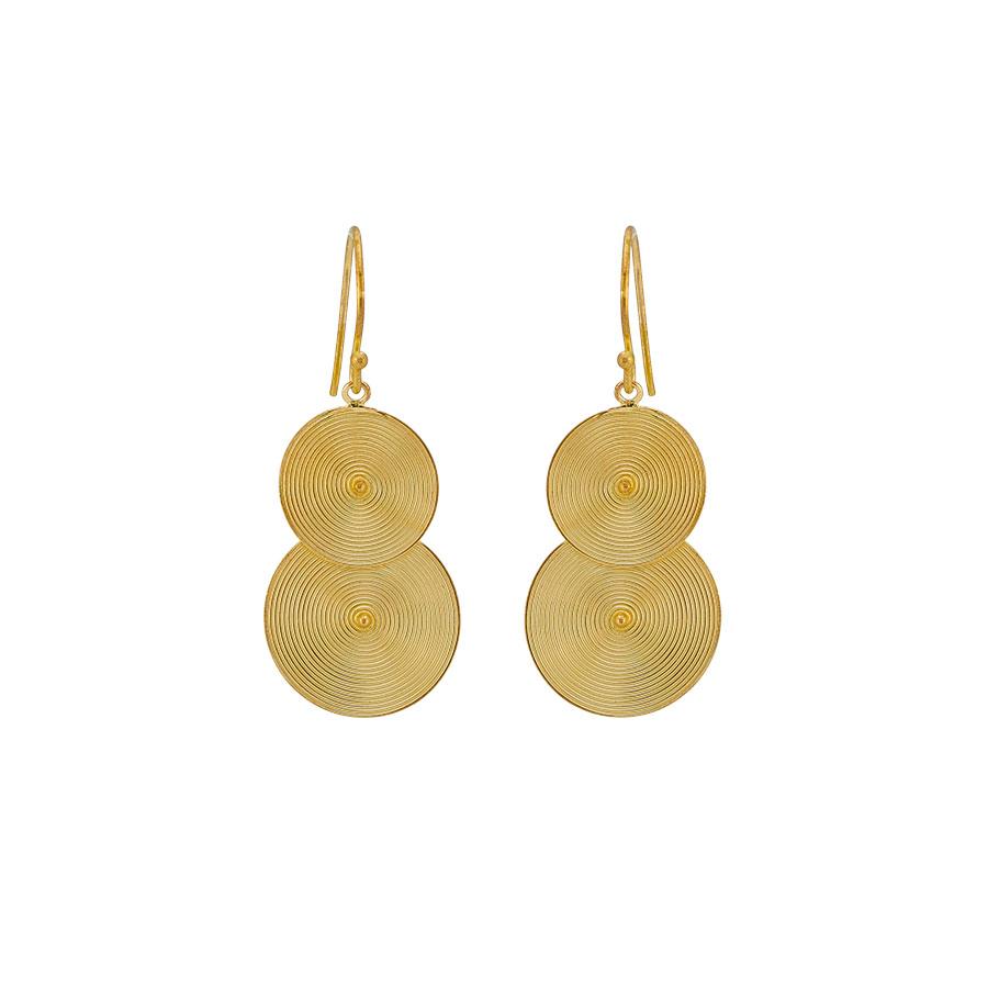 boucles d'oreilles créoles double rond vermeil perle de jade