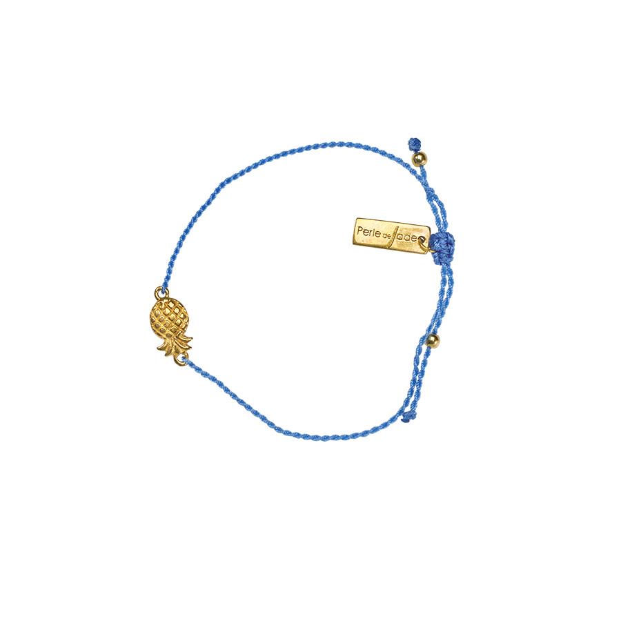 Bracelet pour enfant fil bleu plaqué or ananas-perle-de-jade