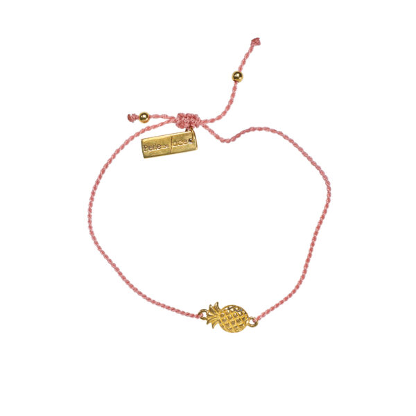 Bracelet enfant fil rose ananas plaque or