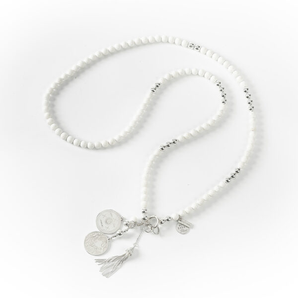 "Collier long ""Good Karma"" en argent massif et quartz blanc"
