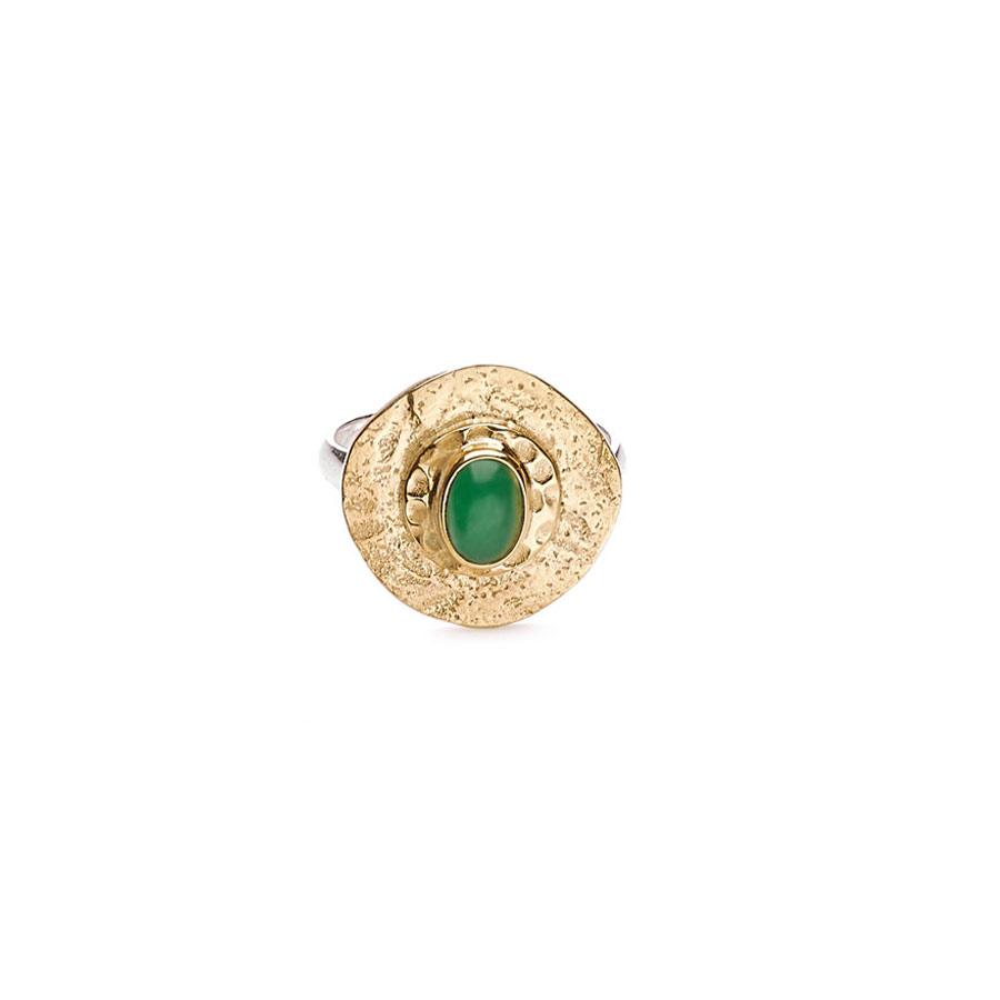 """Bague """"Perle de Lune"""" en vermeil plaqué or 18 carats et pierre de jade"""
