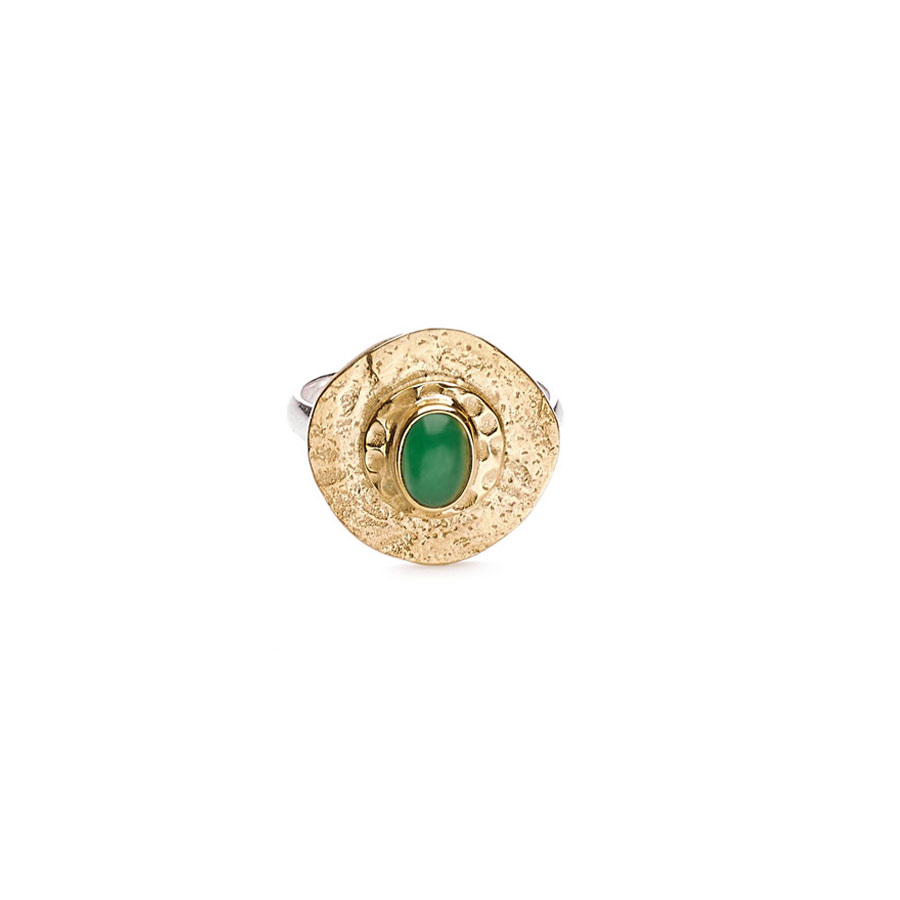 Bague en vermeil plaqué or 18 carats et pierre de jade