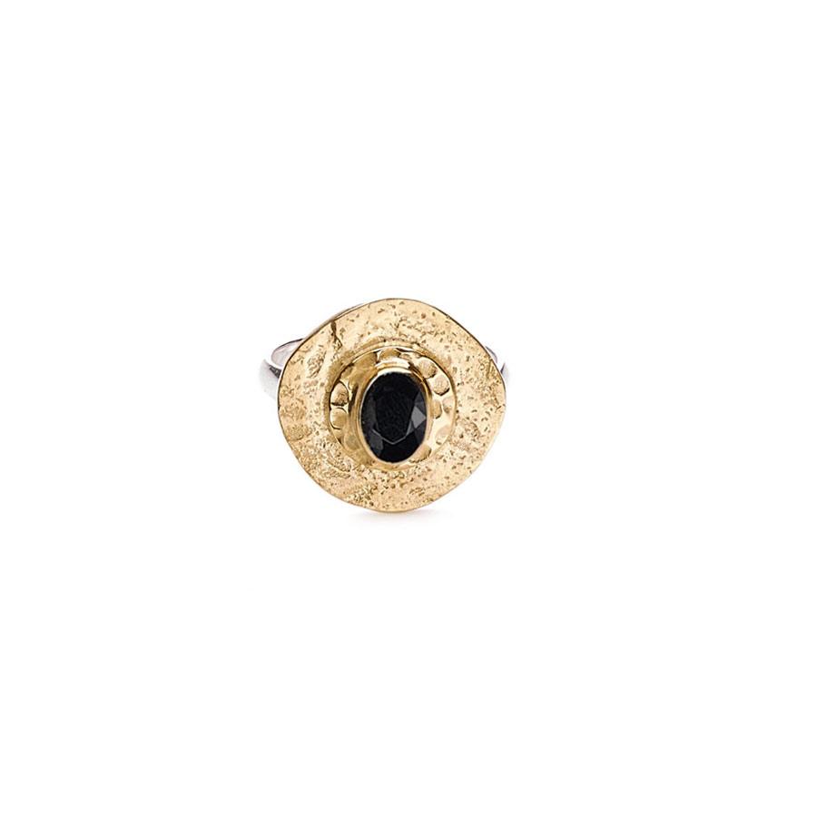 bague vermeil plaqué or et quartz noir