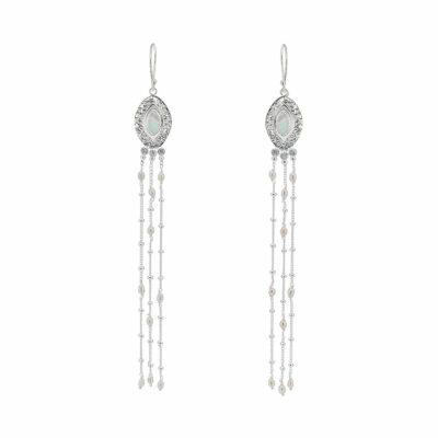 boucle d'oreilles perle de culture argent massif perle de jade