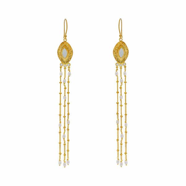 boucles d'oreilles artémis plaqué or perle de jade
