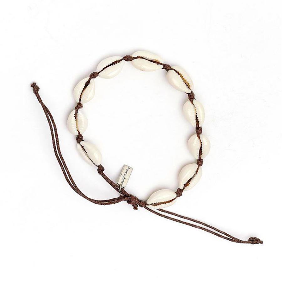 bracelet coquillages fil ajustable marron