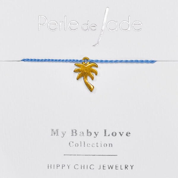 Bracelet enfant fil bleu Perle de jade