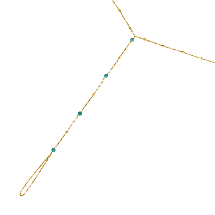 chaîne de main vermeil pierres de turquoise perle de jade