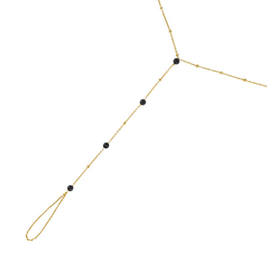chaîne de main vermeil plaqué or quartz noir perle de jade