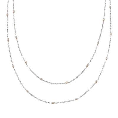 collier 2 niveaux perla en argent massif et perle de culture