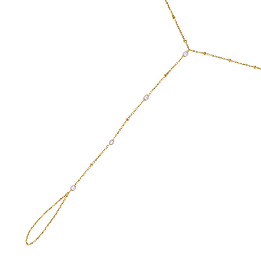chaîne de main plaqué or perle de jade