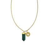 Collier charms vermeil 18 carats et quartz vert retouche