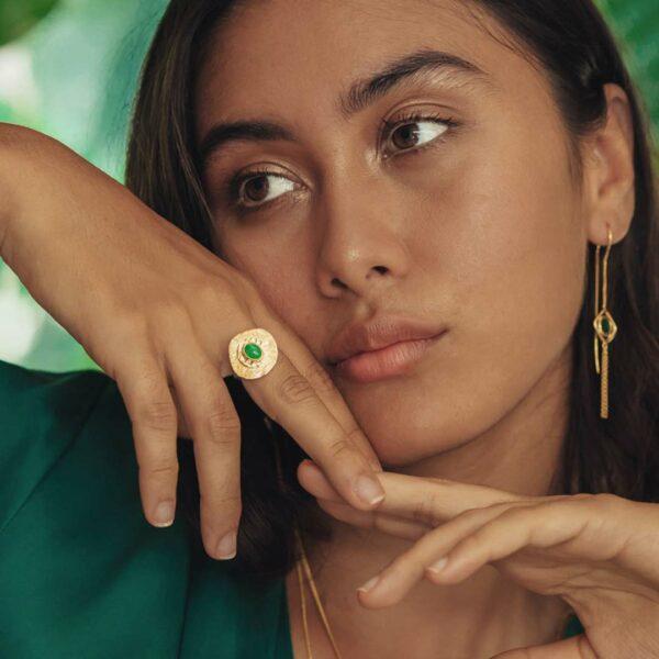 bague pierre de jade vermeil perle de jade